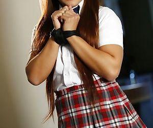 Flighty Asian schoolgirl Morgan Lee gets dominated and..