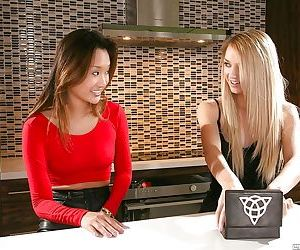 Asian teen Alina Li and young blonde Carmen Callaway..