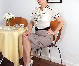 Asian mature secretary Tigerr Benson gets dirty in her hot..