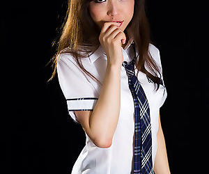 Japanese schoolgirl flashes a no panty upskirt before..