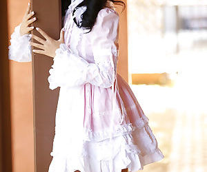 Charming Asian teen Alina Li hikes up her dress to get..