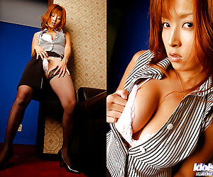 Asian babe in stockings Azusa Isshiki revealing her big..