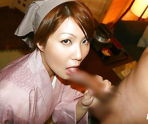Naughty asian girl gives a sensual blowjob and gets shagged