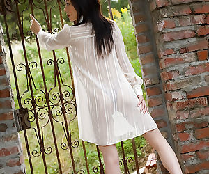 Loveable asian teen babe Takami Hou uncovering her tiny..