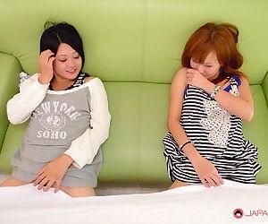Asian women spread pussy for men in kinky peek-a-boo orgy..