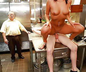 Latina milf Gianna Nicole fucks in kitchen with a cook so..