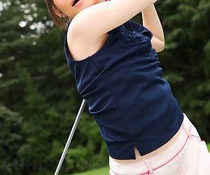 Sweet sports girl Michiru Tsukino practices her golf swing..
