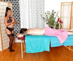 Asian hottie Maya Mona massages a horny guy and gives a..