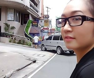 Asian nerdy abe Boochi sucking a hard cock in a POV video..