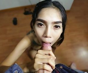 Slender Thai girl with a back tattoo gets banged and..