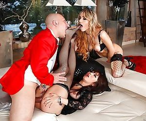 Glamorous anal sluts in nylons have a fervent threesome..