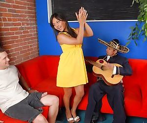 Asian chick Lana Violet getting down with two guys who has..