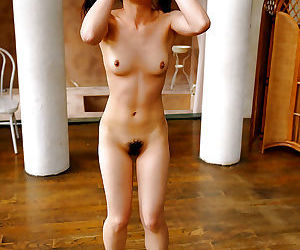 Slim asian babe with tiny tits spreading her legs and..