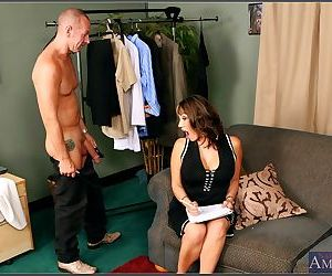 Asian mature Ava Devine stripped to gauzy corset and..