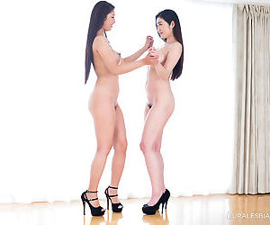 Naked Japanese females engage in lesbian sex acts in high..