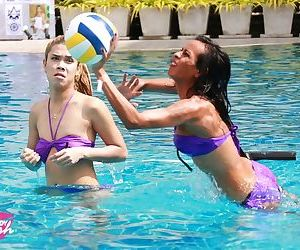 Ladyboys have a game of pool volleyball prior to awards..
