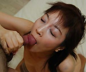 Asian MILF Shinobu Yabe gives head and gets her hairy..