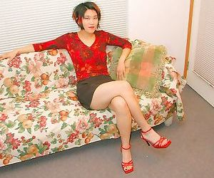 Asian amateur in high heels with small breasts reveals..