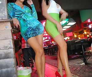 Leggy Asian ladyboys head out on the town where they..