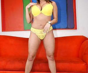 Asian MILF Ava Devine strips off yellow lingerie and..
