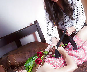 Asian pornstar Kobe Lee seducing a blindfolded Sara Luvv..