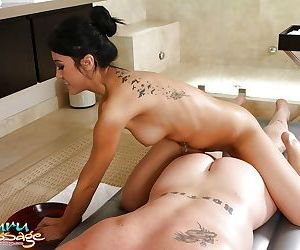 Asian bath maid Jayden Lee rubs her tits against guys penis