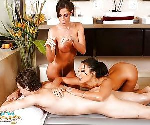 Asian lovemate asa akira and kortney kane giving oiled..