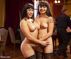 Mia li and gf asian subs entertain the crowd at bdsm sex..