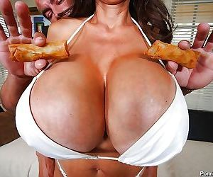 Pure mature asian minka gives titjob in between her huge..