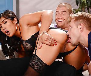 Asian beauty mia li gets double penetration in threesome -..