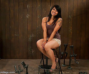 Dragon lily asian milf bound in chains has to make a cock..