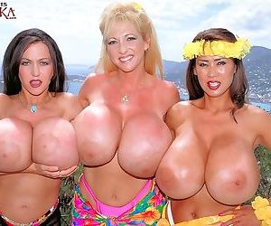 Busty bikini mature trio in lesbian action - part 1919
