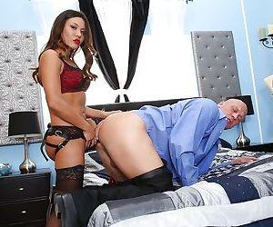 Astonishing model Mena Li is giving a good deep blowjob on..
