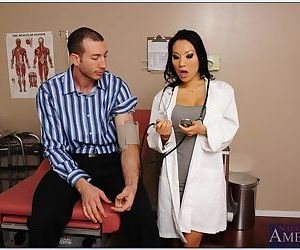 Slutty asian doctor Asa Akira sucks and fucks her patients..