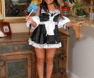 Asian first timer Tinah flashing black panties underneath..