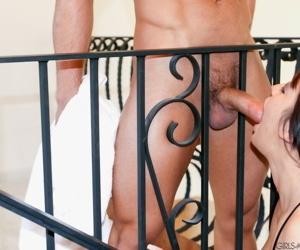 Busty hot pornstar Mia Lelani sucking cock on her knees..