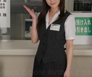 Japanese sales clerk Hina Aizawa rips open her pantyhose..