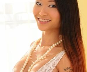 Skinny Asian chick with fake bosoms Pussykat sucks dick..