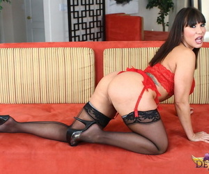 Busty mature Asian Ava Devine deepthroats a cock before..
