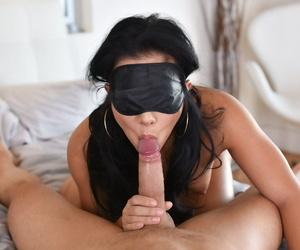 Asian Morgan Lee sucks heavy cock while blond folded and..