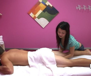 Petite Asian brunette with hot tits Ka Lee massages and..
