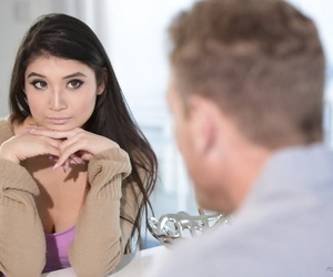 American chick of Asian descent fucks a man after seducing..