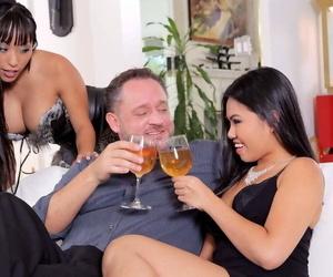 Asian pornstar Cindy Starfall and her hot gf swap cum..