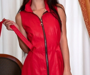 Asian teen Kimiko unzips her dress before removing black..