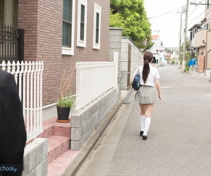 Japanese schoolgirl takes off her uniform and has sex with..