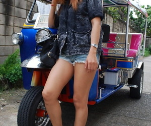 Asian cute babe Noy takes a ride with a stranger on his..