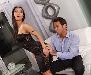 Horny asian vixen Asa Akira gets her hungry love holes..