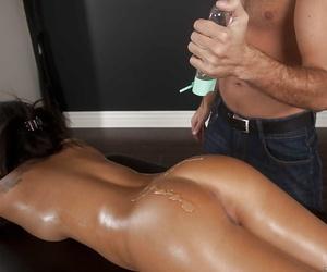 Horny asian babe with sexy ass Asa Akira fucks a masseurs..
