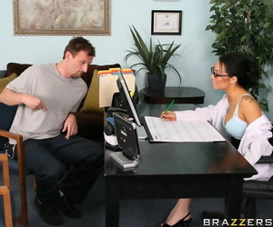 Asian babe Asa Akira has a huge dick tearing her tight pussy