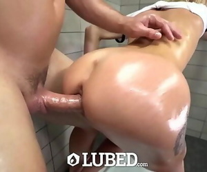 LUBED Shower fuck and facial cumshot with little..